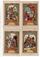 LOT 12 Chromos - Images Religieuses - Jésus - Chemin De La Croix - Dorure - (format CPA) - Santini