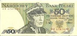 BANK POLSKI  50  ZLOTYCH De 1988 - Pologne