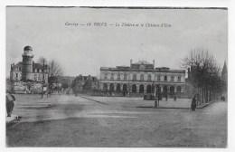 BRIVE EN 1916 - N° 18 - LE THEATRE ET LE CHATEAU D´ EAU AVEC PERSONNAGES - CPA VOYAGEE - Brive La Gaillarde