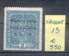 VENETIE JULIENNE (TRIESTE) TIMBRES D´AUTRICHE DE 1916-18 SASSONE NR. 15 MNH AVEC 3 CERTIFICATIONS D´EXPERTS AU DOS - 8. WW I Occupation