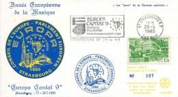 """Env. De 1985 """"ANNEE EUROPEENNE DE LA MUSIQUE - EUROPA CANTAT 9"""" - Oblt. Strasbourg 20-04-1985 - Lettres & Documents"""
