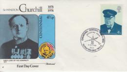 Enveloppe  1er  Jour   ROYAUME  UNI    Sir   Winston  CHURCHILL    1974 - Sir Winston Churchill