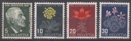 Switzerland Pro Juventute Flowers 1947 Mi#488-491 Mint Never Hinged