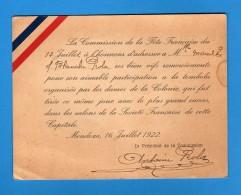 France -  MENDOZA 16/07/1922 Biglietto Di RINGRAZIAMENTO, Fète Française Du 14 Juillet - Old Paper