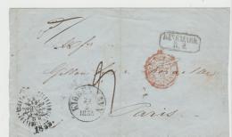 DK-V008 /DÄNEMARK -   Kopenhagen - Paris 1855 Via Hamburg, Briefhülle - Briefe U. Dokumente