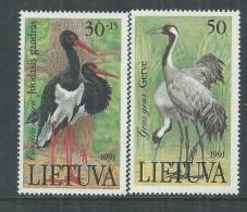 Lituanie N° 420 / 21 XX Faune : Echassiers, Les 2 Valeurs, Sans Charnière, TB Valeur Catalogue - Lithuania