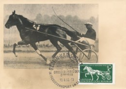 D25046 CARTE MAXIMUM CARD TRIPLE 1958 GERMANY DDR - HORSE RACING SULKY CP PHOTOCARD - Horses
