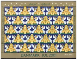 DENMARK 2001 Christmas Seals Complete Unfolded Sheet MNH / ** - Denmark