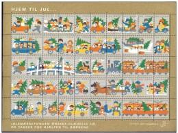 DENMARK 2000 Christmas Seals Complete Unfolded Sheet MNH / ** - Denmark