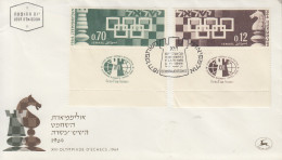 Enveloppe  FDC  1er  Jour   ISRAEL    XVIéme   OLYMPIADE   D´ ECHECS   1964 - FDC