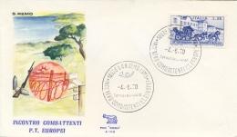 Italia 1970 Annullo Speciale Su Busta San Remo Incontro Combattenti P.T. Europei - Militaria