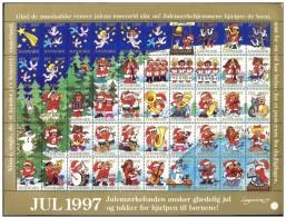 DENMARK 1997 Christmas Seals Complete Unfolded Sheet MNH / ** - Denmark