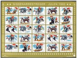 DENMARK 1995 Christmas Seals Complete Unfolded Sheet MNH / ** - Denmark