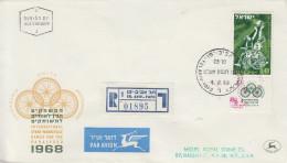 Enveloppe  Recommandée  FDC   1er  Jour   ISRAEL   Jeux  Internationaux  Pour  Les   Handicapés    1968 - FDC