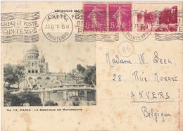 16452# ENTIER POSTAL GRAND LAC BOIS DE BOULOGNE BASILIQUE DE MONTMARTRE Obl PARIS 96-A 1938 BUREAU DE POSTE DU PRINTEMPS - Entiers Postaux