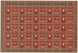 DENMARK 1982 Christmas Seals Overprint On 1978 Issue Complete Unfolded Sheet MNH / ** - Denmark