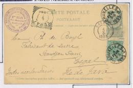 Entier Postal Armoiries + TP Armoiries BXL 1895 Vers TEGAL Indes Néerlandaises - Marchand De Timbres Belin  --  XX587 - Entiers Postaux