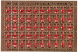 DENMARK 1978 Christmas Seals With Colour Shift Variety Complete Unfolded Sheet MNH / ** - Denmark