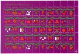 DENMARK 1977 Christmas Seals Complete Unfolded Sheet MNH / ** - Denmark