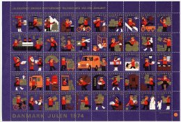 DENMARK 1974 Christmas Seals Complete Unfolded Sheet MNH / ** - Other