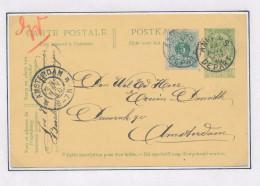 Entier Postal Armoiries + TP Lion Couché 5 C ( Hors Cours , Mais Accepté !!!) ANVERS 1910 Vers AMSTERDAM NL  --  XX591 - Entiers Postaux