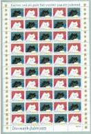 DENMARK 1973 Christmas Seals Complete Unfolded Sheet MNH / ** - Denmark