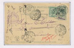Entier Postal Armoiries + TP Dito MARCHE 1897 Vers PARIS Et RETOUR - Cachet Et Symboles Architecte Verhas  --  XX593 - Freemasonry