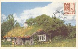 D25076 CARTE MAXIMUM CARD 1956 SWEDEN - OLD FARMERS HOUSE CP ORIGINAL - Architecture