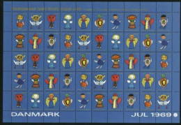 DENMARK 1969 Christmas Seals Complete Unfolded Sheet MNH / ** - Denmark