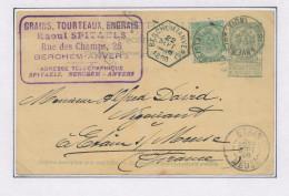 Entier Postal Armoiries + TP Dito ANVERS 1898 Vers La France - Cachet De Gare BERCHEM à L'origine  --  XX597 - Entiers Postaux