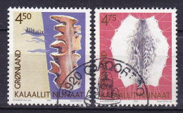Greenland 2000 Mi. 356-57 Grönländische Kulturerbe (I) Holzkarte & Robbenhaut Complete Set !! - Usati