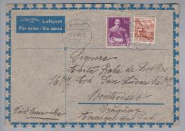 Schweiz 1946-10-18 Meilen Luftpostbrief Nach Montevideo Uruguay - Svizzera