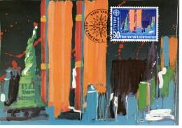 LIECHTENSTEIN  Carte Maxi  1992  Cept Europa Decouverte De L Amerique Tableaux Statue De La Liberté - Non Classés
