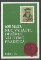 Lituanie BF N° 3 XX 600ème Anniversaire De La Naissance Du Grand Duc Vytautas, Le Bloc Sans Charnière, TB - Lithuania