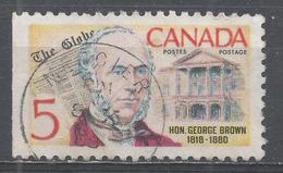 Canada 1968, Scott #484 Georgr Brown (1818-1880), Founder Of Toronto Globe (U) Stamp From Left Side Of A Sheet - 1952-.... Règne D'Elizabeth II