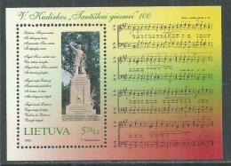 Lituanie BF N° 14 XX Centenaire De L'hymne National,  Le Bloc Sans Charnière, TB - Lituanie