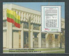 Lituanie BF N° 19 XX 10ème Anniversaire De La  Restauratin De L'Indépendance,  Le Bloc Sans Charnière, TB - Lithuania