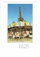 75 - PARIS - LA Tour Eiffel - CARROUSEL Manège Chevaux De Bois Fer à Cheval Enfants - Collection Prestige 1987 - Scene & Paesaggi