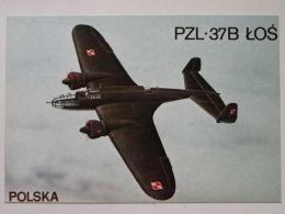 Polish  Bomber Pzl P37 Los / Polish Postcard - 1939-1945: 2ème Guerre