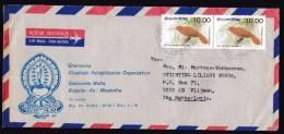 Sri Lanka: Airmail Cover To Netherlands, 1993, 2 Stamps, Rufous Babbler Bird (traces Of Use) - Sri Lanka (Ceylon) (1948-...)
