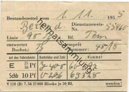 Berlin - BVG - Bestandszettel Vom 1.11.1955 - Linie 98 Bahnhof Tempelhof - Titres De Transport