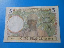 Colonies AOF 5 Francs 15-3-1937 P.21 TB - France