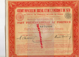 ACTIONS ET TITRES - CREDIT FONCIER DU BRESIL ET AMERIQUE SU SUD- PART AU PORTEUR- 1929- - Banque & Assurance