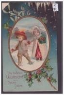 BONNE ANNEE - ENFANTS - CARTE EN RELIEF - PRÄGE KARTE - B ( COIN HAUT GAUCHE DEFECTUEUX ) - New Year