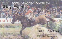 Télécarte Japon - JEUX OLYMPIQUES - ATLANTA 1996 - HIPPISE CHEVAL - HORSE OLYMPIC GAMES USA - Japan Phonecard - 191 - Jeux Olympiques