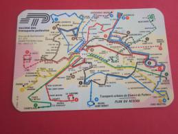 PLAN DE RESEAU SOCIETE DES TRANSPORTS POITEVINS CARTE TITRE TRANSPORT VERSO REPARTITION DES ARRETS PLACE LECLERC POITIER - Europe
