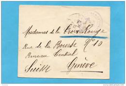 """MARCOPHILIE-lettre Pour Genève  Croix Rouge-14-18 Cad Ferryville Nov 1914-cachet """"Génie Maritime Sidi Abdallah - Marcophilie (Lettres)"""