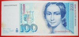 § SCHUMANN (1819-1896): GERMANY ★ 100 MARK 1996 CRISP! Very Low Start ★ NO RESERVE! - [ 7] 1949-… : RFA - Rep. Fed. Tedesca