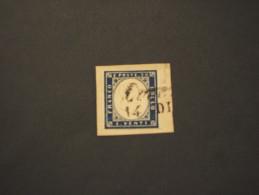 LOMBARDO VENETO - 1854/7 STEMMA 30 C., Su Frammentino  - TIMBRATI/USED - Sardaigne