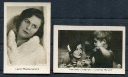 2 X Ramses Filmfotos Film Stars Cards Marlene Dietrich / Leni Riefenstahl - Cigarette Cards